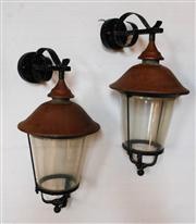 Sale 8272A - Lot 16 - A pair of vintage copper and iron wall lanterns, with later Perspex glass fitted 53 x 40 cm