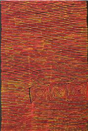 Sale 8358 - Lot 550 - Ronnie Tjampitjinpa (c1943 - ) - Bushfire Dreaming 180 x 122cm (framed & ready to hang)