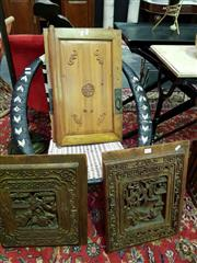 Sale 8462 - Lot 1027 - Pair of Small Carved Timber Wall Hangings & Pair of Small Carved Oriental Doors