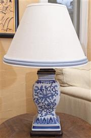 Sale 8550H - Lot 49 - A vintage Chinese porcelain blue & white table lamp fitted with a cream shade with double piped blue edge, total H 72cm