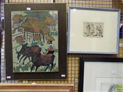 Sale 8563T - Lot 2215 - 2 Works: Artist Unknown Water Buffalos and Village Scene, collage, 41 x 31cm, signed lower left; Artist Unknown Sydney Convicts...