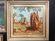 Sale 8726 - Lot 2003 - Artist Unknown - Termite Mounds, oil on board, 80 x 84cm (frame size), unsigned