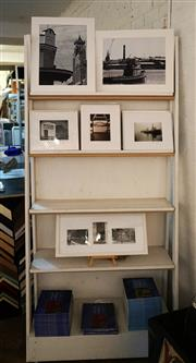 Sale 8734A - Lot 49 - Freestanding timber bookshelf/display stand on castors (shelf items not included)
