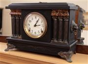 Sale 8908H - Lot 88 - A timber architectural form mantle clock by Sessions. Height 29cm x Width 41cm