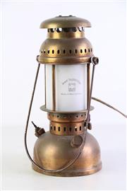 Sale 8940T - Lot 675 - Schott Mainz West German Made Copper Lantern Form Table Lamp (H32cm) (In Working Order)
