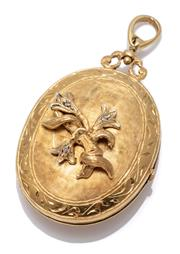 Sale 8999 - Lot 377 - A VINTAGE 18CT GOLD DIAMOND SET LOCKET; engraved oval locket, front applied with a sprig of flowers set with 3 single cut diamonds,...