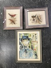 Sale 8990 - Lot 2064 - Assorted Artworks: incl. original watercolour of a French Woman, Hardy Wilson lithographs (2), early etching of Sailboats & Decorati...