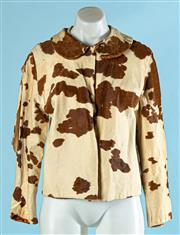 Sale 9090F - Lot 95 - A VINTAGE MARK FOYS COW HIDE CROP TOP JACKET;  large rip to RH sleeve, small nick to RH shoulder and small tear to RH cuff.