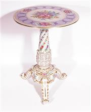 Sale 9081 - Lot 43 - A German Ceramic Pedestal Decorated With Flowers and With Plaue Mark (H: 64cm Dia 46cm)