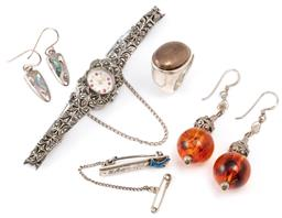 Sale 9128J - Lot 50 - FIVE ITEMS OF SILVER JEWELLERY; 2 pairs of earrings incl. shield shape set with paua shell and other set with silver and  faux amber...
