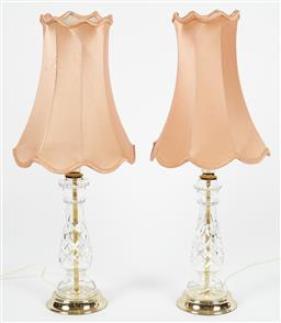 Sale 9123J - Lot 351 - A good pair of vintage hand cut lead crystal table lamps fitted with pale apricot fabric shades. Ht: 62cm to top of shade