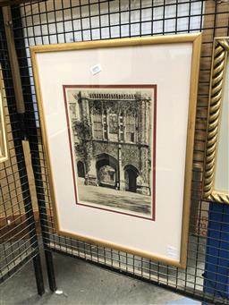 Sale 9147 - Lot 2074 - a drypoint etching by Wilfred Appleby depicting an arched entrance way, frame: 57 x 42 cm  signed lower right,