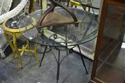 Sale 8031 - Lot 1076 - Glass Top Table on Metal Base