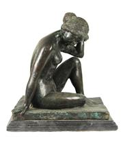 Sale 8040 - Lot 28 - Bronze Patinated Figure of a Seated Female Nude