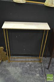 Sale 8251 - Lot 1007 - Marble Top Side Table over metal base