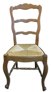 Sale 8258A - Lot 47 - Set of six ladderback rush seated French Provincial chairs in the Louis XV manner, solid build, RRP $295 each