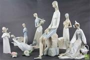 Sale 8512 - Lot 87 - Group of Figurines incl Royal Copenhagen Tern, Lladro figures & Herend Roses ( some repairs and damage)