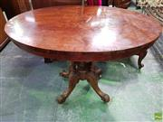 Sale 8559 - Lot 1045 - Victorian Walnut Loo Table, with oval burr top, on carved birdcage base