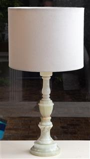 Sale 8550H - Lot 171 - A heavy alabaster turned column lamp and shad, total H 64cm