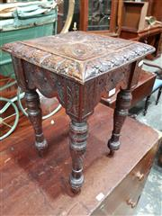 Sale 8714 - Lot 1068 - Victorian Carved Small Oak Stool, on turned legs