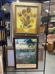 Sale 8936 - Lot 2048 - Artist Unknown Sunflowers (After Van Gough)acrylic on canvas, 80 x 70cm, together with Exhibition Poster Van Gough in Arles at T...