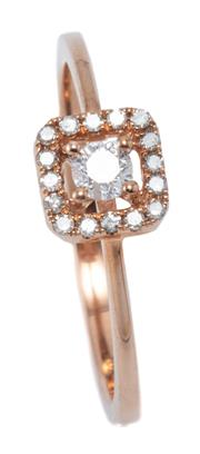Sale 9031H - Lot 68 - A 10CT PINK GOLD DIAMOND CLUSTER RING; 6.5mm square top centring a round brilliant cut diamond to a surround of 16 single cut diamon...