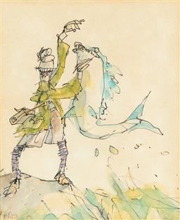 Sale 9123J - Lot 241 - Nicol The Fisherman ink an wash on paper 16 x 13cm, frame size 26 x 24cm signed lower left