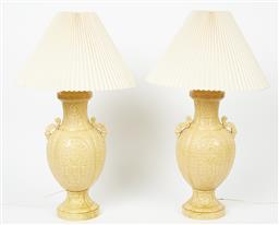 Sale 9123J - Lot 352 - A large and impressive pair of vintage Italian pottery lamps decorated in the Chinese manner fitted with pleated cream fabric shades...