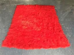 Sale 9151 - Lot 1098 - Red tone flokati rug (h200 x w170cm)