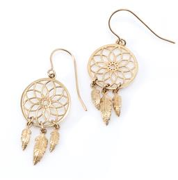 Sale 9177 - Lot 356 - A PAIR OF 9CT GOLD DREAM CATCHER EARRINGS; mandala discs to feather fringe on shepherds hook fittings, length 35mm, wt. 1.88g.