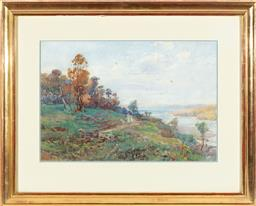 Sale 9190H - Lot 159 - Charles Tindall, Harbour stroll, watercolour, SLL, 37cm x 53cm (foxing)