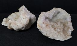 Sale 9254 - Lot 2382 - A pair of two large white geodes (W:20cm - largest)