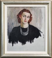 Sale 8334 - Lot 578 - Norman Lindsay (1879 - 1969) - Young Lady With Pearl Necklace 47.5 x 40.5cm