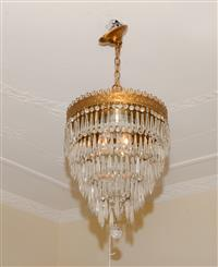 Sale 8171A - Lot 68 - French Art Deco 5 tier crystal chandelier