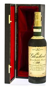 Sale 8261A - Lot 86 - Glenlivet 25yo Jubilee Reserve, The Jubilee reserve, distilled in 1952 and bottled in 1977. Housed in a wood and velvet box, this is...