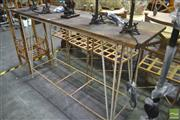 Sale 8262 - Lot 1092 - Timber Top Hall Table on Wrought Iron Base