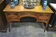 Sale 8323 - Lot 1012 - Raised Five Drawer Desk with Concave Front