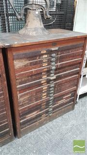 Sale 8395 - Lot 1049 - Antique 20 Drawer Printers Type Set Cabinet