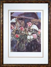 Sale 8562A - Lot 4 - After Marc Chagall - Still Life Interior total size inc frame H 110 x total W 85cm