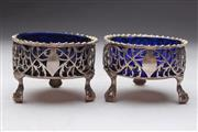 Sale 8689 - Lot 35 - Pair Of Irish Probably George III Silver Salts