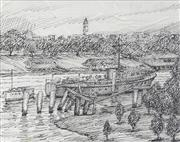 Sale 8722A - Lot 5067 - William Torrance (1912 - 1988) - North Quay River Bank, Brisbane 12.5 x 15.5cm