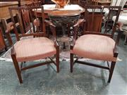 Sale 8868 - Lot 1005 - Part Georgian Mahogany Set of Eight Hepplewhite Style Dining Chairs, including two armchairs, with slatted backs, pink upholstered...