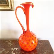 Sale 8878T - Lot 3 - Orange Dimpled Art Glass Jug, Circa 1970s, Height 34cm