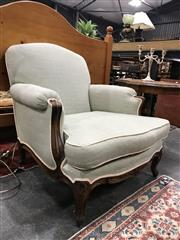 Sale 8882 - Lot 1043 - Louis XV Style Beech Armchair, fully upholstered in mint green fabric with dots