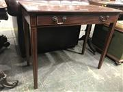 Sale 9014 - Lot 1077 - George III Style Mahogany Side Table, the top, frieze drawer & tapering legs with string inlay