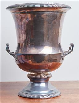 Sale 9099 - Lot 162 - A silver-plated wine cooler with twin handles.                                Height 28cm