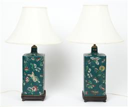 Sale 9123J - Lot 353 - A good pair of large ceramic lamps, the square body profusely decorated with flowers and butterflies in enamels, raised on square ti...