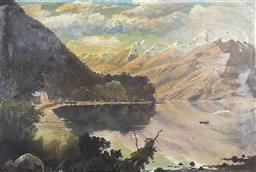Sale 9163 - Lot 2082 - Artist Unknown (C19th) Highland Scene with Two Figures Rowing into the Bay oil on academic board 41 x 61cm (unframed)