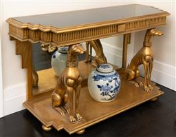 Sale 9248H - Lot 57 - A marble top art deco style console table, the carved and gilt base with greyhound supports. Height 82 x width 148 x depth 57cm