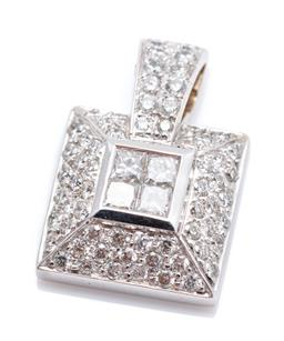 Sale 9260H - Lot 354 - An 18ct white gold diamond pendant; square pendant invisible set in the centre with 4 princess cut diamonds totalling approx. 0.20ct...